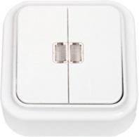 А5 10-215 Выключатель двухклавишный со световой индикацией открытой установки